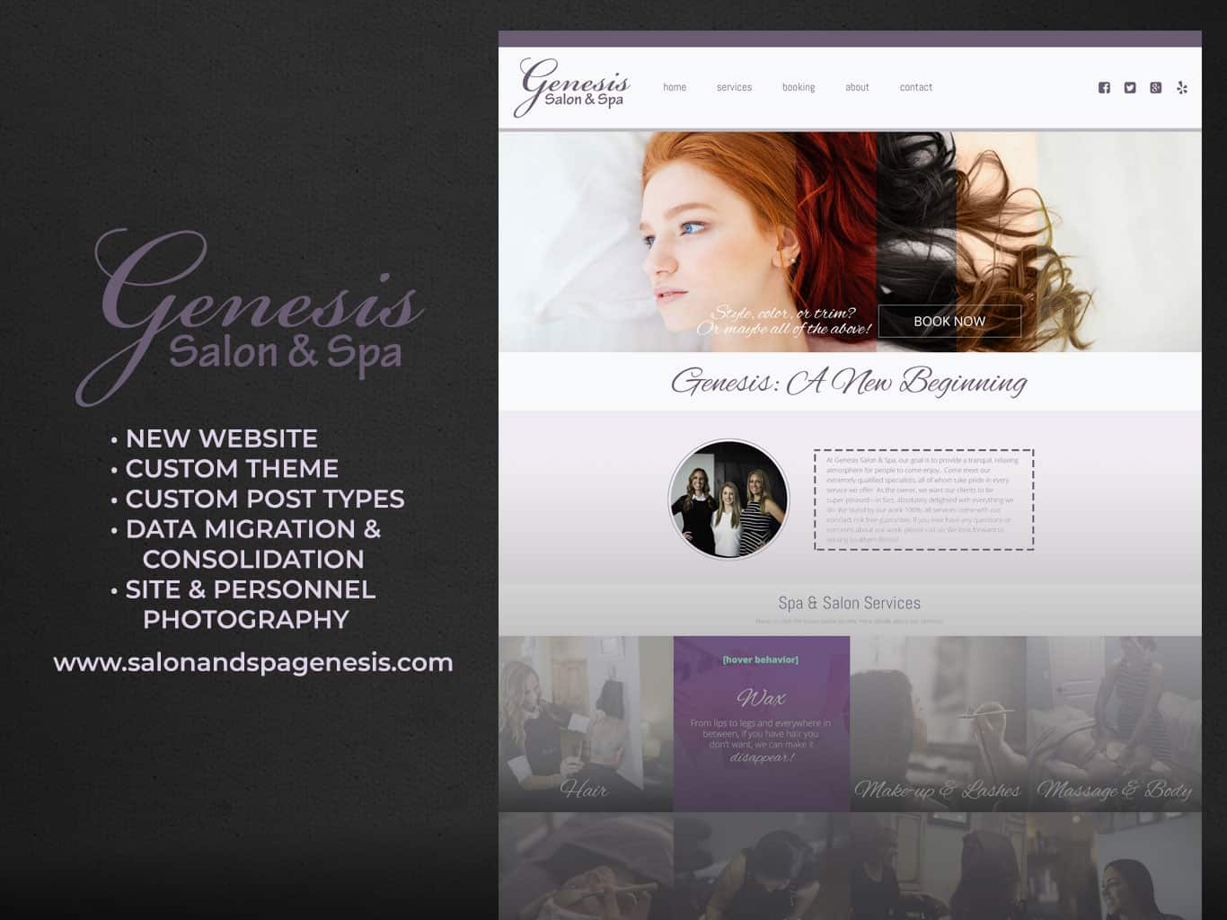 Genesis Salon & Spa custom WordPress child theme, photography
