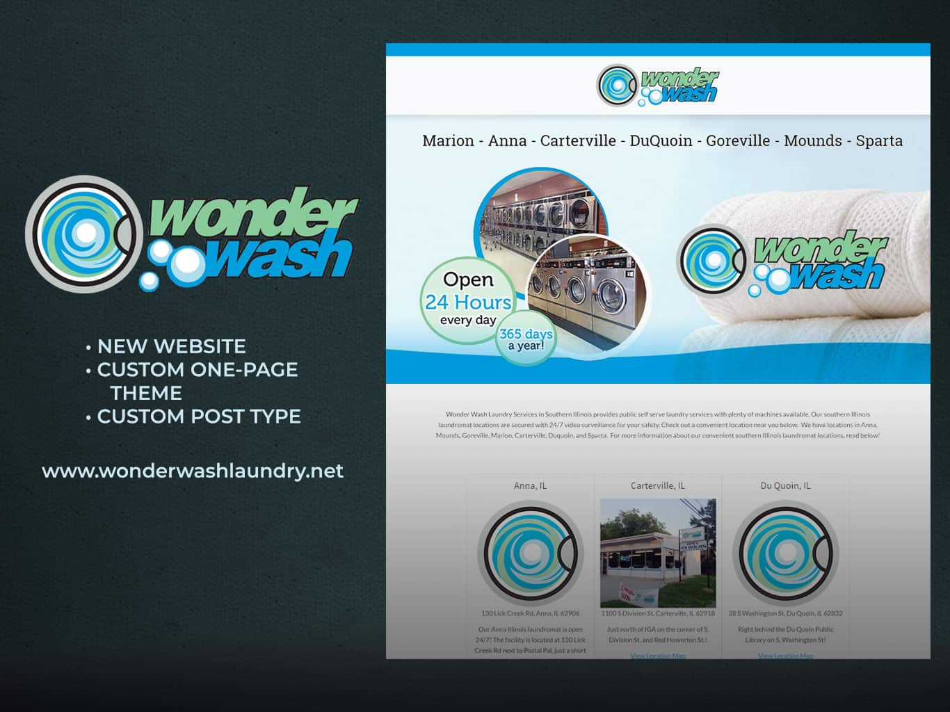 Responsive website design for Wonder Wash Laundromat